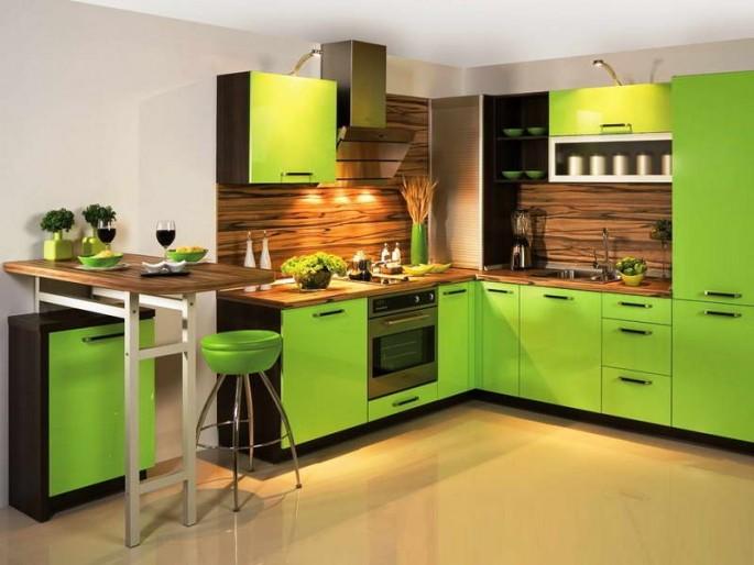 Варианты современного дизайна кухни в зеленом цвете