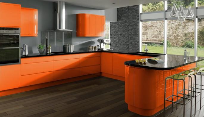 Особенности дизайна коричнево-оранжевой кухни