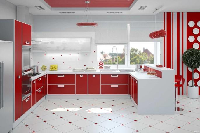 Интерьер кухни в красно-белом цвете: стиль, контрастные решения и мебель