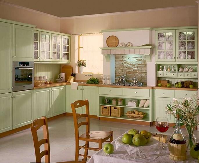 Фисташковая кухня: правильное сочетание цветов в оформлении интерьера