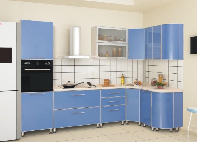 Голубая кухня: легкий и непринужденный интерьер