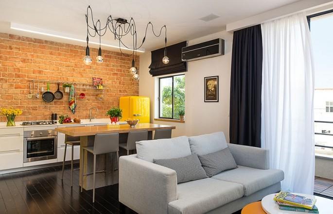 Дизайн квадратной гостиной совмещенной с кухней