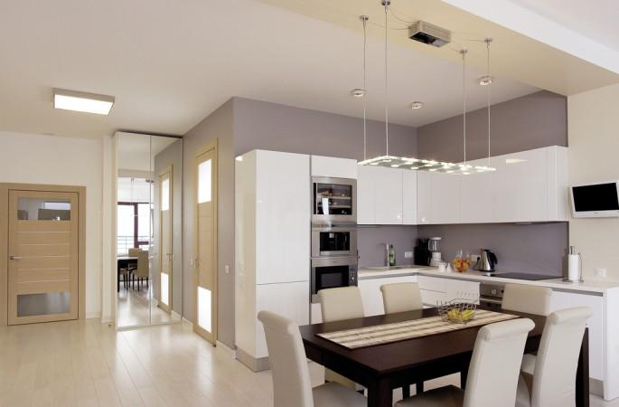 Кухонный интерьер в минималистическом стиле: совмещаем интерьер кухни и гостиной
