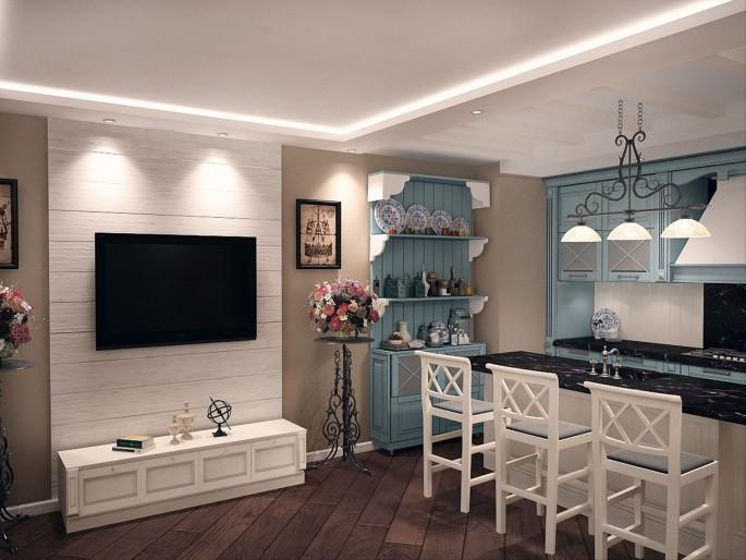 Нюансы дизайна и оформления кухни-гостиной в стиле Прованс