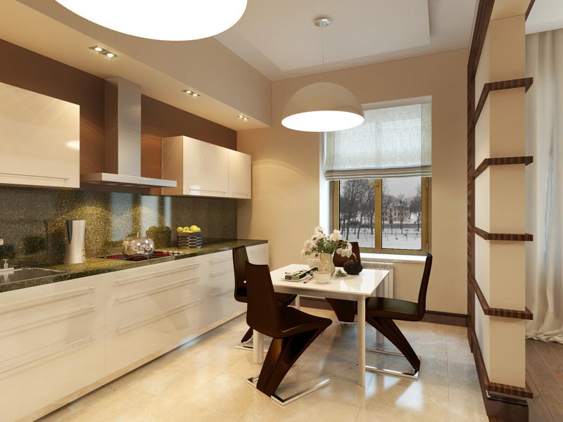 Дизайн бежево коричневой кухни