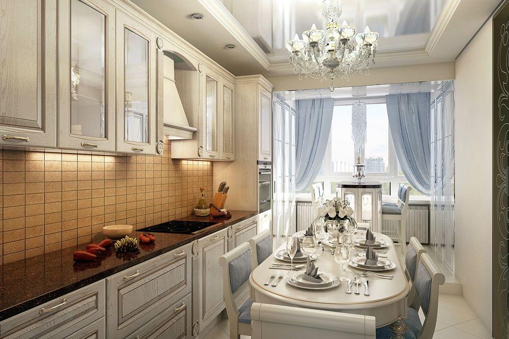Интерьер классической кухни в светлых тонах фото