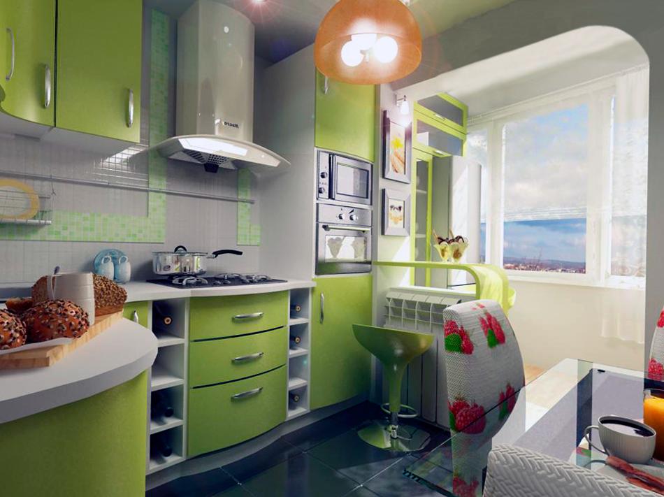 Кухни дизайн маленькие с балконом