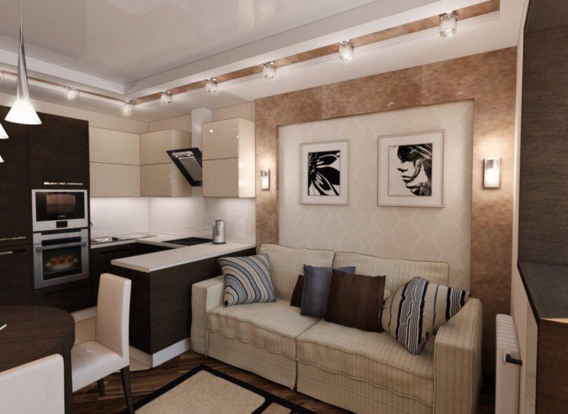 Кухня-гостиная дизайн 15 кв м