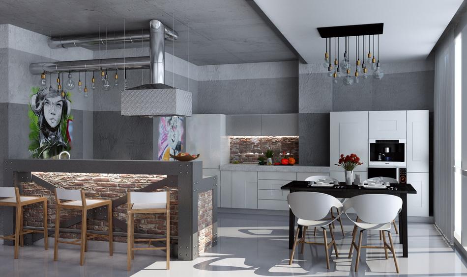 Дизайн кухни-гостиной лофт