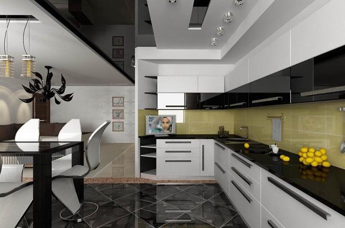 Многоуровневый потолок – отличный вариант для современных кухонь