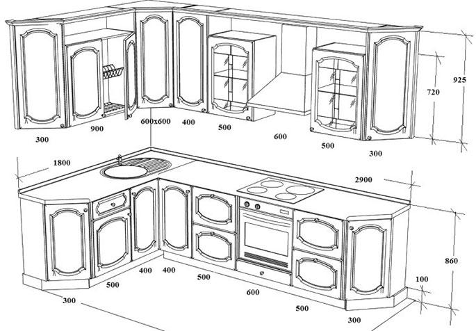 Угловая кухня своими руками из дерева чертежи 54