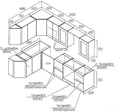 Чертеж углового шкафа кухни своими руками