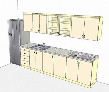 Zeichnung von Kücheneinheiten mit den Abmessungen