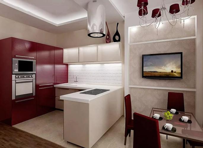 Интерьер гостиной и кухни 25 кв м дизайн