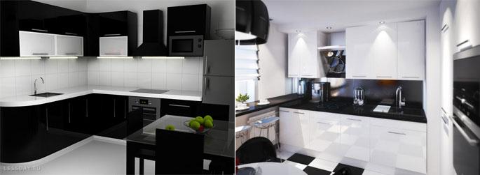 Кухни в чёрно белом цвете фото