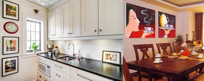 Важно правильно расположить картины на кухне