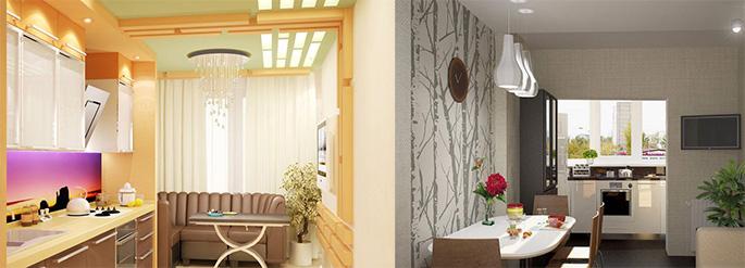 Дизайн кухни с балконом: варианты совмещения, интерьерные то.