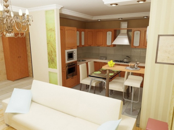 Дизайн кухни совмещенной с гостиной в квартире