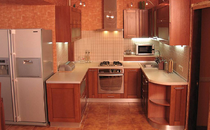 Фото дизайн кухни без окна