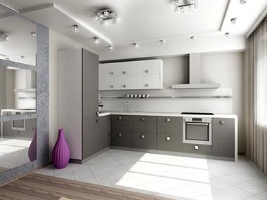 Современный интерьер кухни, выполненной в серо-белых тонах, выглядит изысканно и уникально