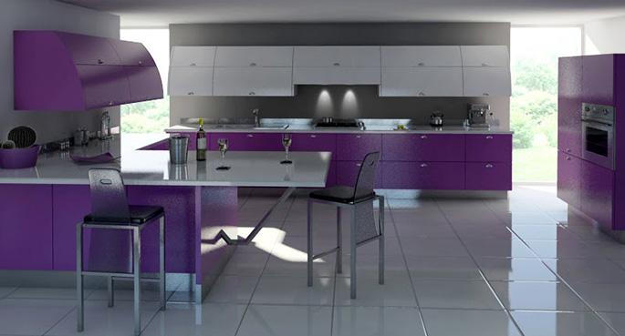 Сиреневый отлично дополняет серо-белые кухонные интерьеры, делает их более яркими, интересными