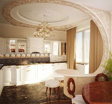 дизайн натяжных потолков фото для кухни